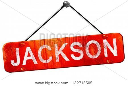 jackson, 3D rendering, a red hanging sign
