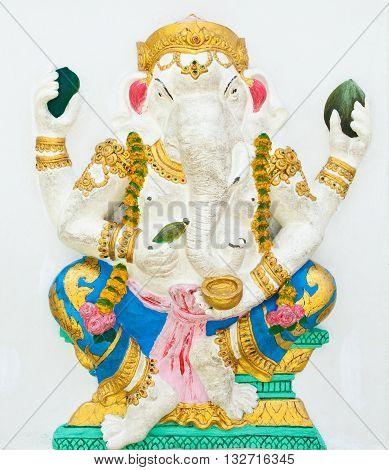 Indian or Hindu God Named Bhakti Ganapati at Wat Saman Chachoengsao Thailand