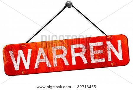 warren, 3D rendering, a red hanging sign