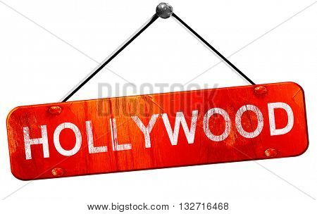 hollywood, 3D rendering, a red hanging sign