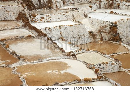 Salina de Maras the traditional inca salt field in Maras near Cuzco in Sacred Valley Peru