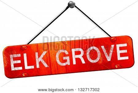 elk grove, 3D rendering, a red hanging sign