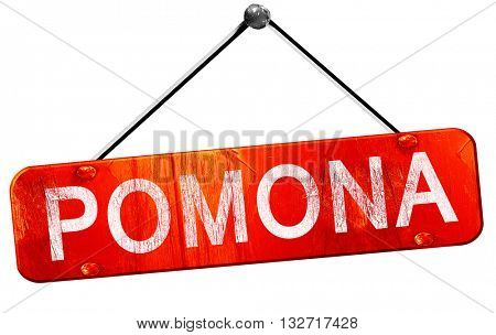 pomona, 3D rendering, a red hanging sign