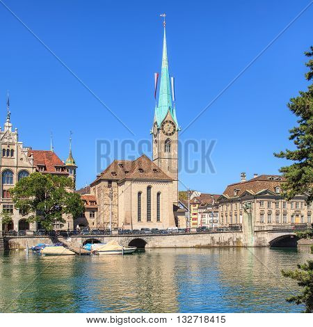 Fraumunster cathedral in the city of Zurich, Switzerland.