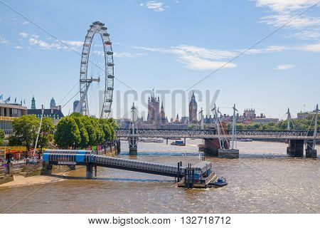 LONDON, UK - 22 JULY, 2014: Centre of London view from the London bridge. Big Ben, Parliament, London eye and passing boats on river Thames