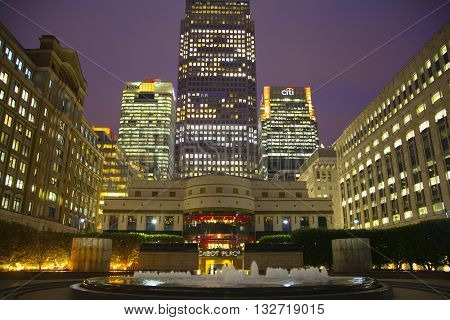LONDON, UK - CANARY WHARF, MARCH 22, 2015: Modern architecture of biggest business aria in London, View on Canada tower at night