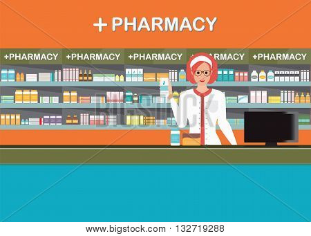 Female pharmacist at the counter in a pharmacy opposite of shelves with medicines drug store Health care conceptual vector illustration.
