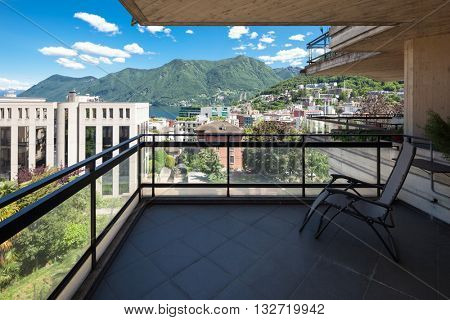 Balcony overlooking the town and lake