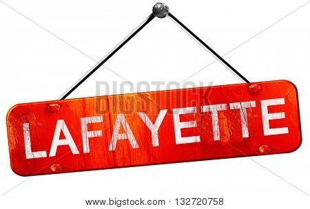 lafayette, 3D rendering, a red hanging sign