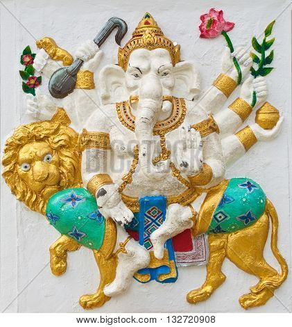 Indian or Hindu ganesha God Named Singha Ganapati at temple in thailand ;The conviction will be used hand to apply to the Lord for get the wishes.