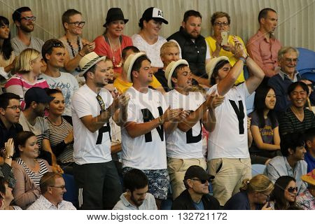 MELBOURNE, AUSTRALIA - JANUARY 23, 2016: Andy Murray support team at Rod Laver Arena during Australian Open 2016 round 4 match at Rod Laver Arena in Melbourne Park