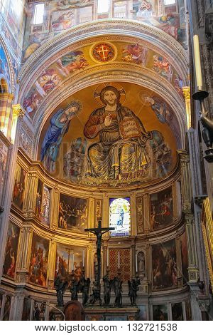 Pisa Italy - June 29 2015: Beautiful interior of the Pisa Cathedral on Piazza del Duomo. Province Pisa Tuscany region of Italy