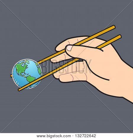 Mini world in human hand with chopstick