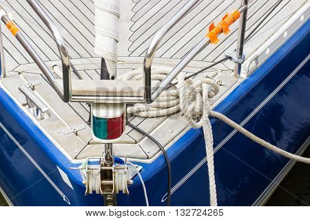 Yachting Thick rope on sailboat and deck of yacht detail of boat