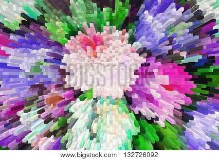Impressionism Painting With Extrusion Effect, Colored Floral Background, Bright Colorful Abstract, E