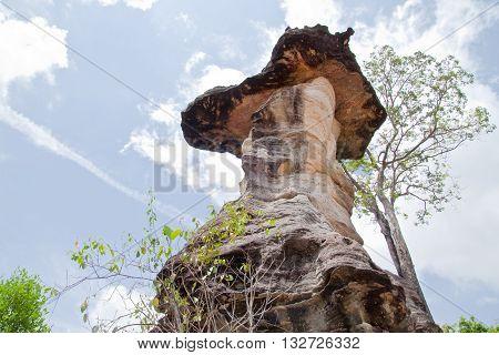 Mushroom stone and blue skyThe Natural Stone as Mushrooms in Pha Taem National ParkUbonratchathanee ProvinceThailand