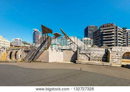 Wellington New Zealand - November 18 2014: Wooden sculpture on the City to Sea Bridge. The City to Sea Bridge is a pedestrian wooden footbridge and public artwork located in Wellington City New Zealand.