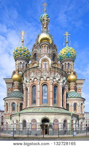 The Cathedral of Resurrection (Savior on blood) on the background of blue sky. Saint Petersburg, Russia