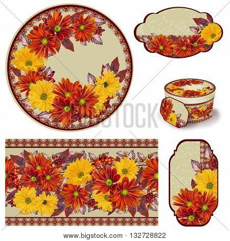 Chrysanthemum flowers. The composition of orange and yellow chrysanthemums. Autumn colorful leaves. Set for packaging. Box round. Label.decoupage. Floral background. Flower border. Pattern. Mosaic.
