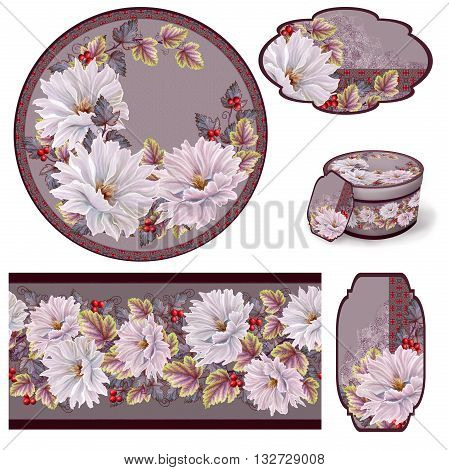 Pastel paint. Pastel paint. White and pink flowers.Set for packaging. Box round. Label.decoupage. Floral background. Flower border. Pattern. Mosaic.