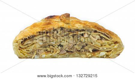 Half of pie filled with chicken, mashrooms, eggs and rice in cross section isolated on white background