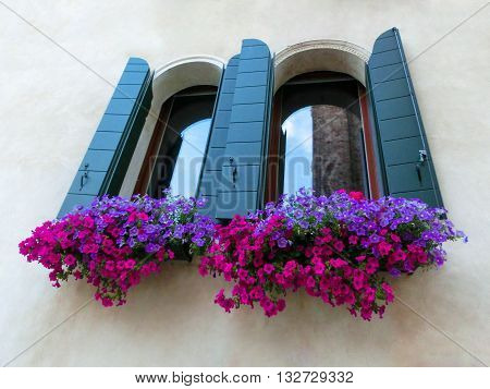 Window with flowers on the old wall in Europe