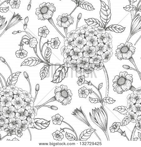 Seamless illustration with graphic Victorian bouquet of flowers on a white background.