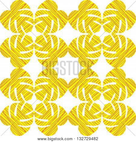 Isolated seamless texture with flat orange and yellow leaves. Monstera.Patterns for cloth