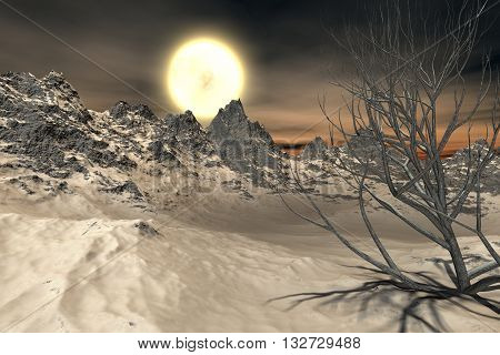 Beautiful orange moon rising over dark snowy mountain peaks with a spooky dry tree in the foreground. 3d illustration.