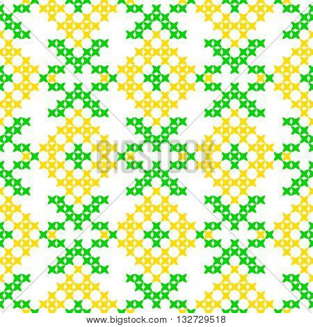 Seamless isolated texture with abstract yellow embroidered flowers for cloth. Embroidery. Cross stitch