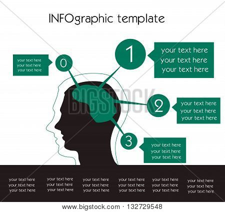 Vector infographic template with human thining icon