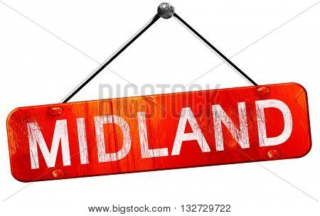 midland, 3D rendering, a red hanging sign