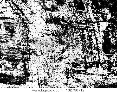 Scratched texture overlay. Distressed texture. Black and white colored grunge background. Rust texture overlay. Abstract background. Vector illustration