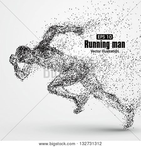 Running Man particle divergent composition vector illustration.
