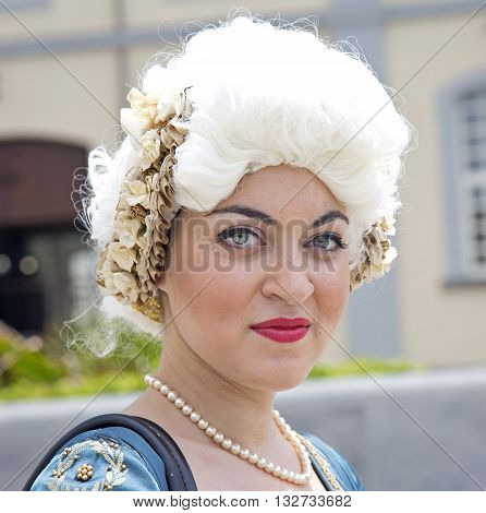 Naples Italy. May 29 2016: a participant of the parade in historical costumes to commemorate the three hundredth anniversary of the birth of Charles of Spain who was King of Naples from 1734 to 1759