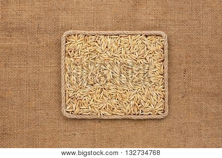 Frame made of rope with oat grains on sackcloth with place for your creativity