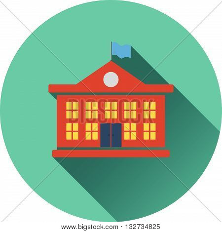 Flat Design Icon Of School Building In Ui Colors