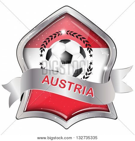 Austria soccer icon / label / button / sticker with soccer ball and the flag of Austria