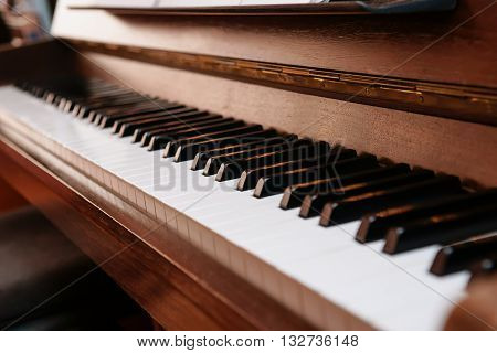 Piano keys on historical piano with ivory keys