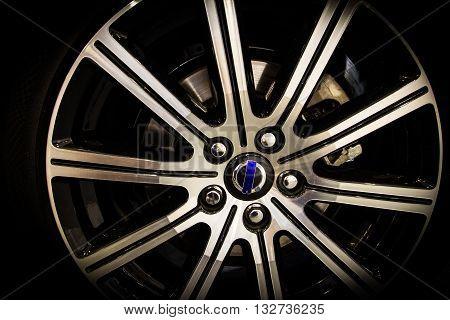 close up of new aluminium alloy wheel