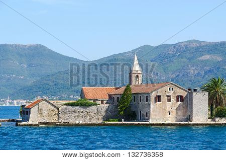 Otok Island (Gospa od Milo) with monastery of Order of Jesuits and Church of Blessed Virgin Mary Bay of Tivat Montenegro