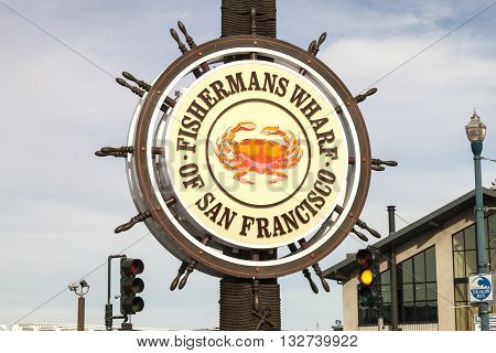 San Francisco USA - November 12: Fishermans Wharf of San Francisco central sign. Fisherman's Wharf is a neighborhood and popular tourist attraction. November 12 2014 San Francisco California.