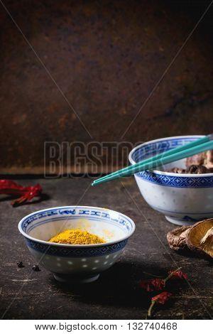 Tumeric Powder And Shiitake Mushrooms