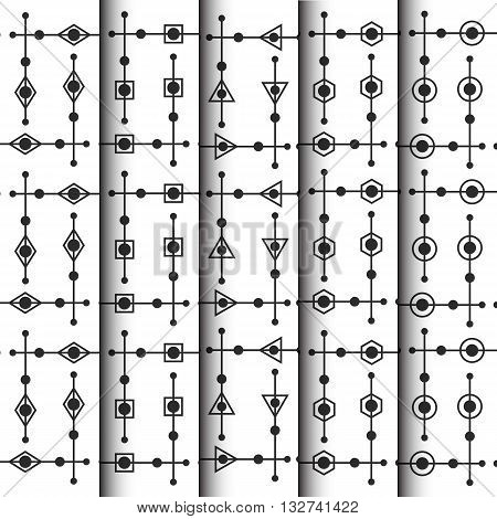 geometric and dotty pattern set outline style