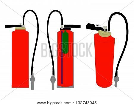Vector illustration of a fire extinguisher in the section and in its entirety. Isolated.