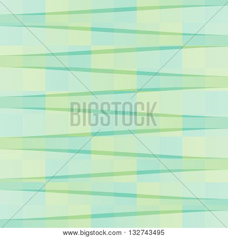 Vector illustration of abstract background with squares in a checkerboard pattern and transparent stripes.
