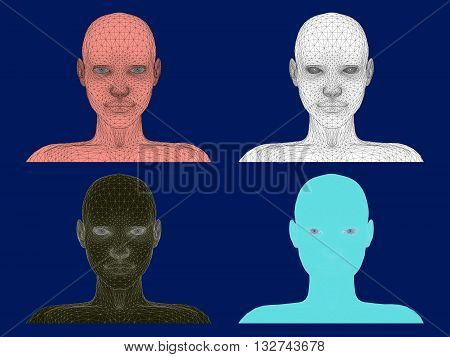 Vector illustration set of a girl's head. Polygonal coverage. 3D.