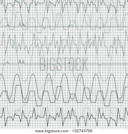 Vector illustration background with cardiogram. Heart rhythm.