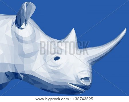 Vector illustration polygonal rhino. 3D. Side view.