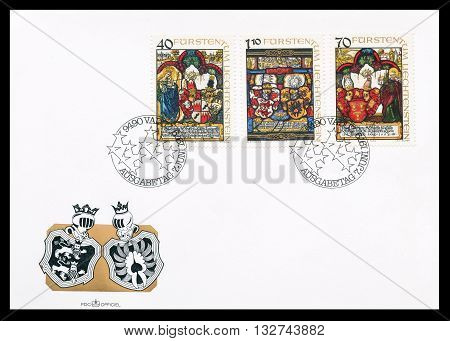 LIECHTENSTEIN - CIRCA 1979 : First day cover letter printed by Liechtenstein, that shows Heraldic panels.